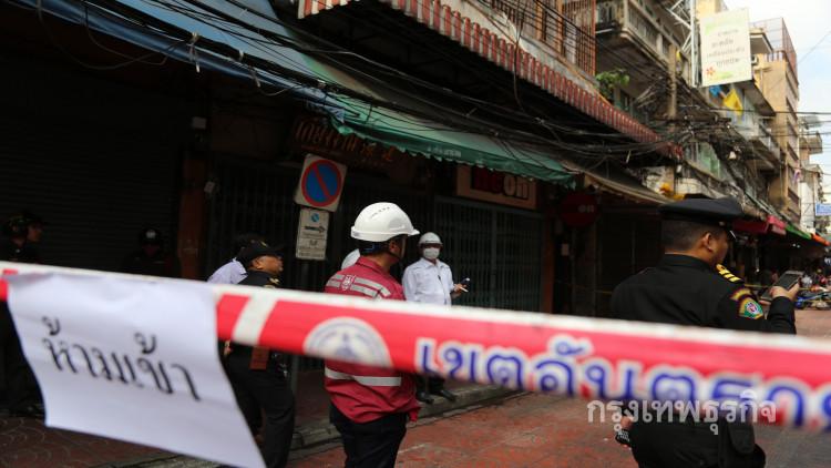 """อาคารเพลิงไหม้ย่านสำเพ็ง ชั้น3เสียหายหนัก สั่งห้าม30วันเร่งซ่อมทั้งตึก ข่าวจาก """"bangkokbiznews"""""""