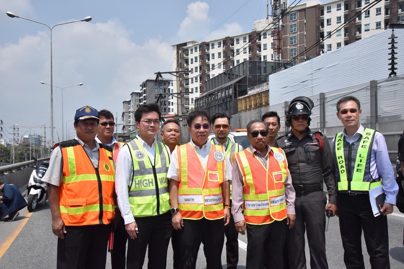 วิศวกรรมสถานฯ ร่วมกับ สำนักงานทางหลวงที่ 13  ตรวจสอบรอยแยกที่เกิดขึ้นบริเวณ ช่วงกลางสะพานข้ามวงเวียนหลักสี่
