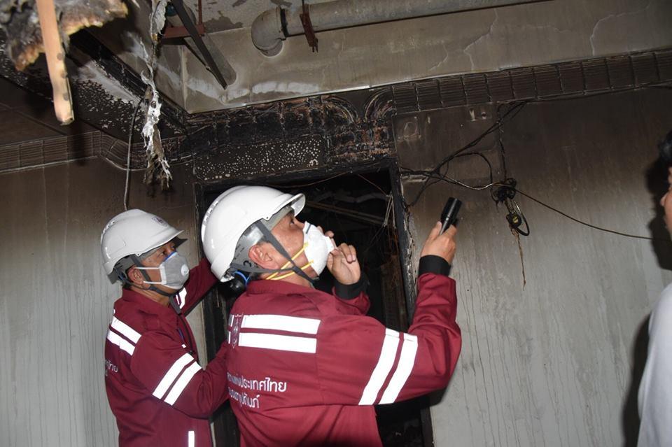 วิศวกรรมสถานแห่งประเทศไทยฯลงพื้นที่ตรวจสอบเหตุ<br>เพลิงไหม้อพาร์ทเม้นท์ซอยเพชรบุรี 18 เขตราชเทวี