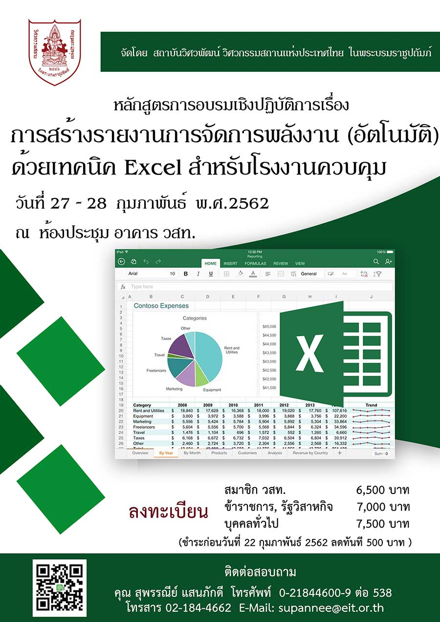 27-28/02/2562 การอบรมเชิงปฏิบัติการเรื่อง การสร้างรายงานการจัดการพลังงาน (อัตโนมัติ) ด้วยเทคนิค Excel สำหรับโรงงานควบคุม  รุ่นที่ 3