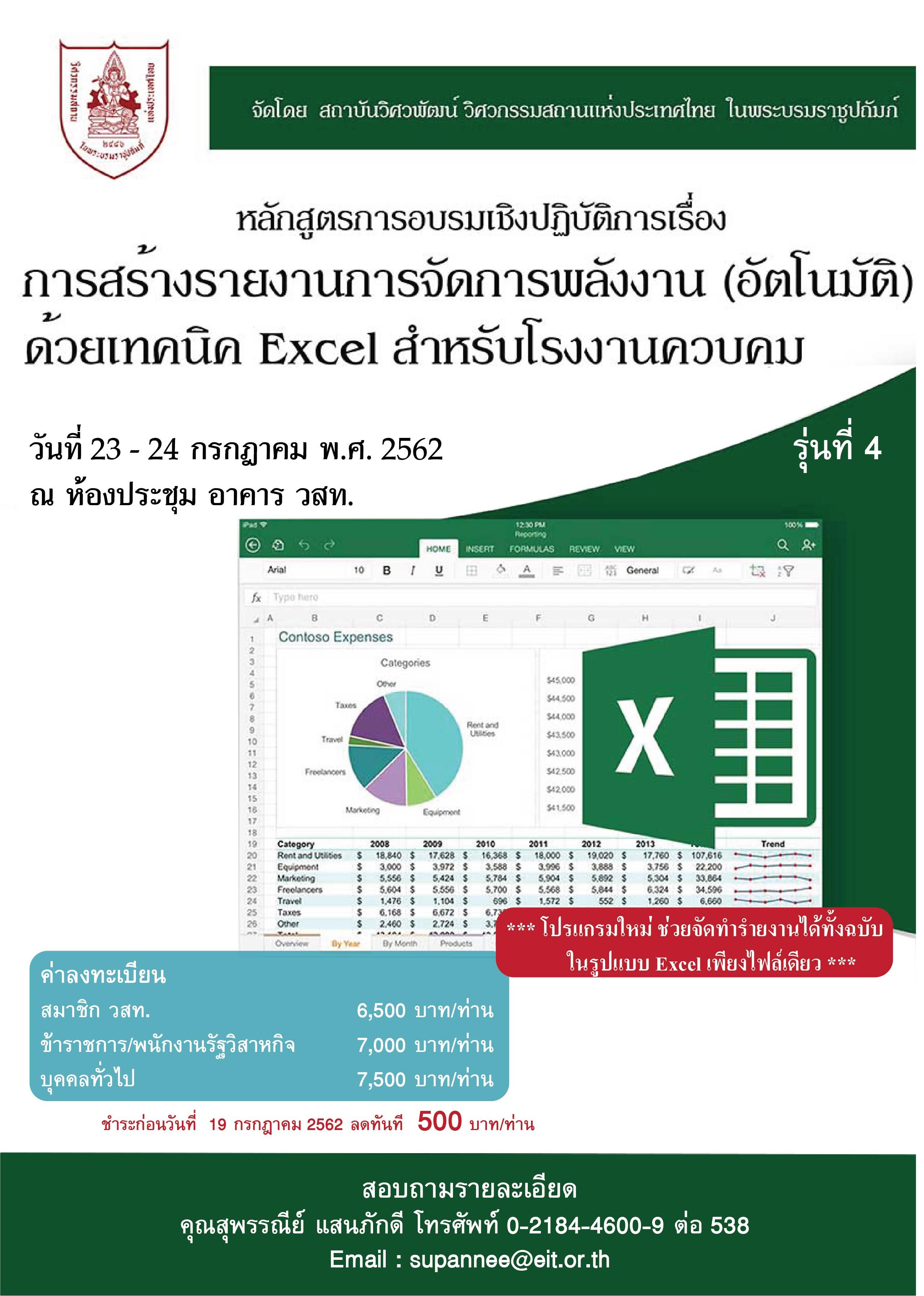 23-24/07/2562 การอบรมเชิงปฏิบัติการเรื่อง การสร้างรายงานการจัดการพลังงาน (อัตโนมัติ) ด้วยเทคนิค Excel สำหรับโรงงานควบคุม  รุ่นที่ 4