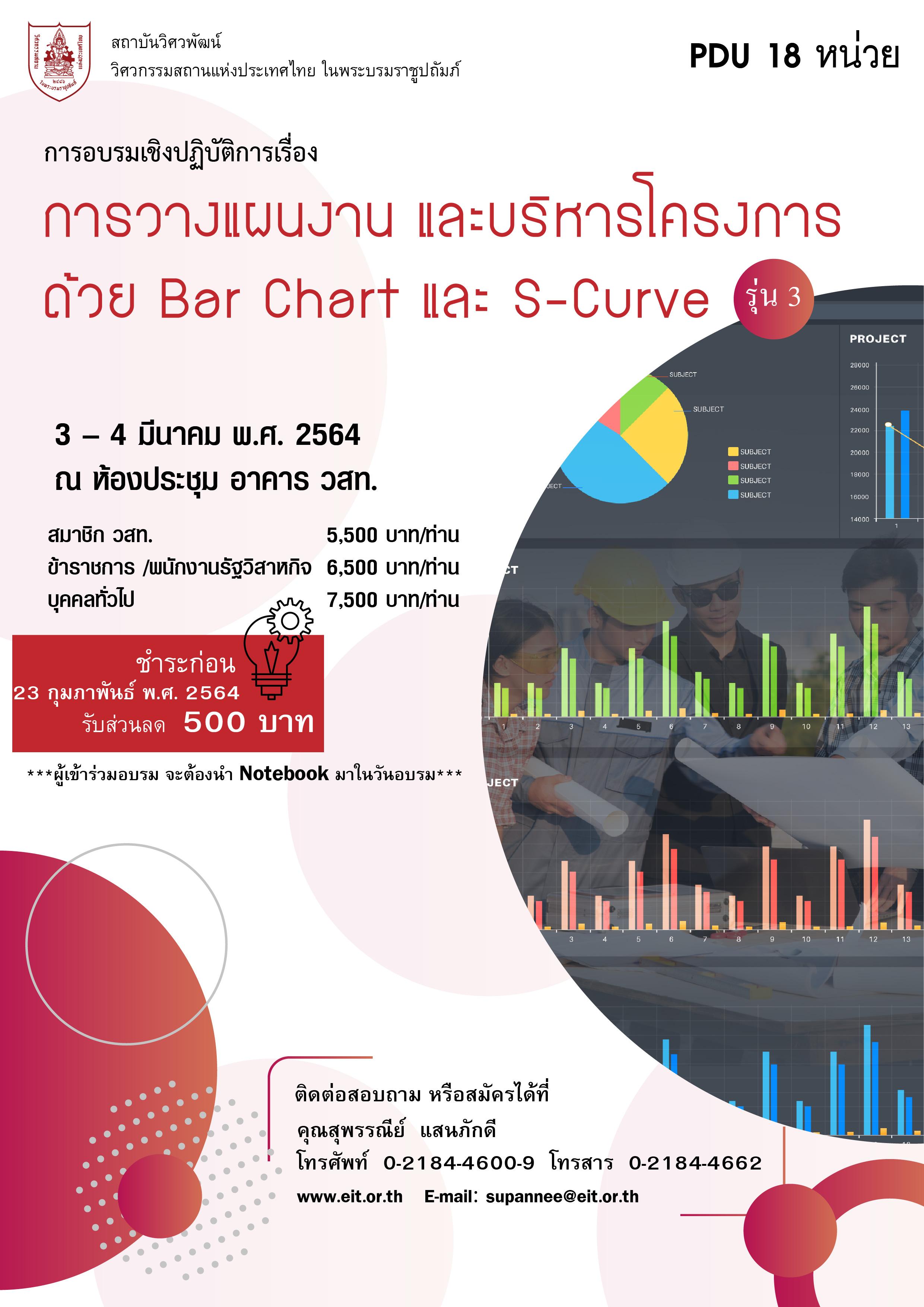 3-4/03/2564 การอบรมเชิงปฏิบัติการเรื่อง การวางแผนงานและบริหารโครงการด้วย Bar Chart และ S-Curve รุ่นที่ 3