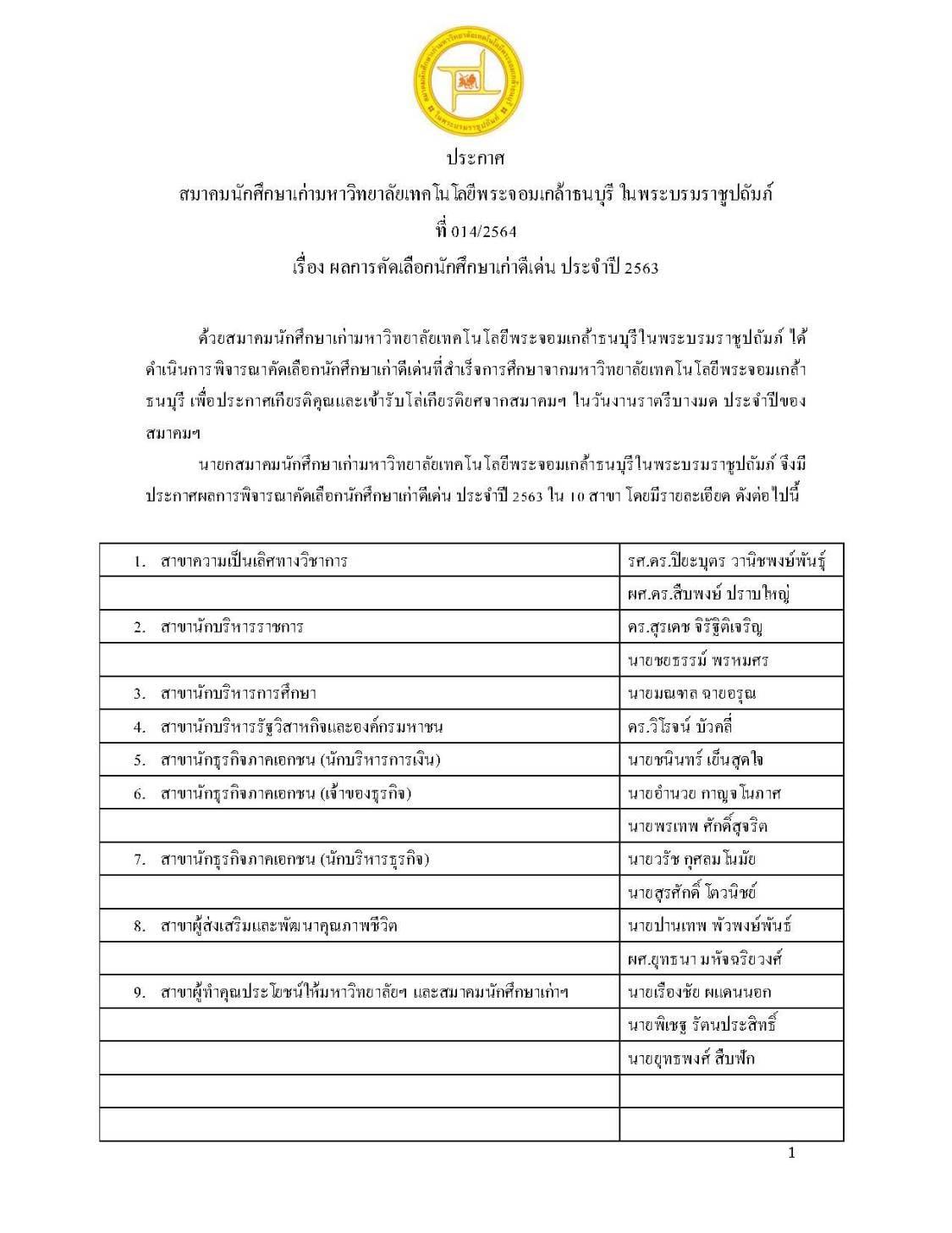 วิศวกรรมสถานแห่งประเทศไทยฯ (วสท.) ขอแสดงความยินดี ในโอกาสได้รับรางวัลศิษย์เก่าดีเด่น ประจำปี 2563