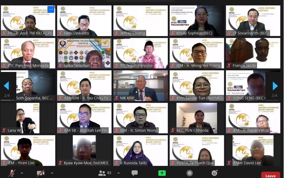 เสร็จสิ้นลงแล้วกับการประชุมสมาพันธ์วิศวกรอาเซียน (กลางปี) ครั้งที่ 20 (20 th AFEO Midterm Meeting 2021) ผ่านระบบออนไลน์